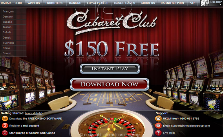 Cabaret Club Online Casino - Website