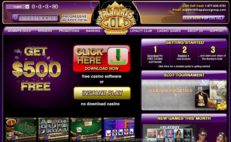 Mummys Gold Online Casino - Website