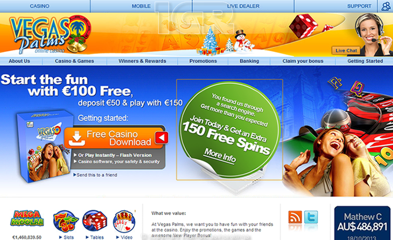 Vegas Palms Online Casino - Website